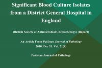 The Aetiology and Antimicrobial Susceptibility Pattern of the Significant Blood Culture Isolates from a District General Hospital in England (British Society of Antimicrobial Chemotherapy) (Report)