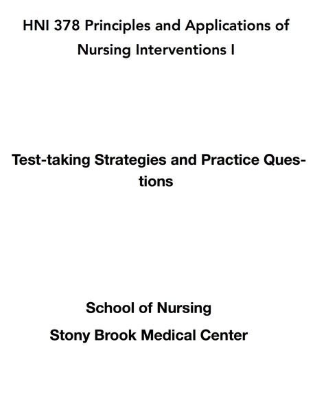 HNI 378 Principles and Applications of Nursing Interventions I