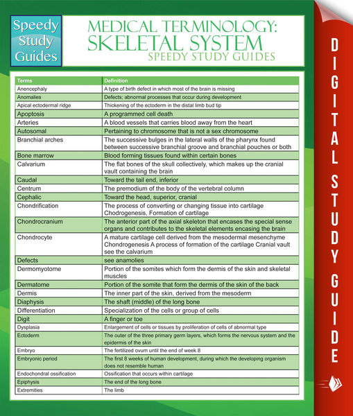 Medical Terminology: Skeletal System Speedy Study Guides