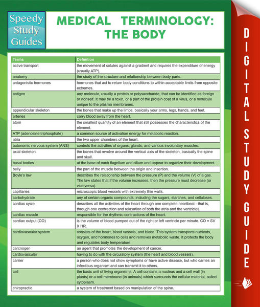 Medical Terminology: The Body Speedy Study Guides