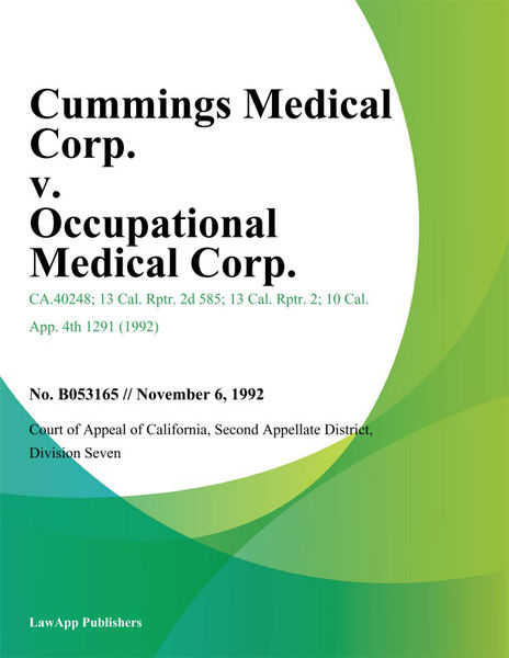 Cummings Medical Corp. V. Occupational Medical Corp.