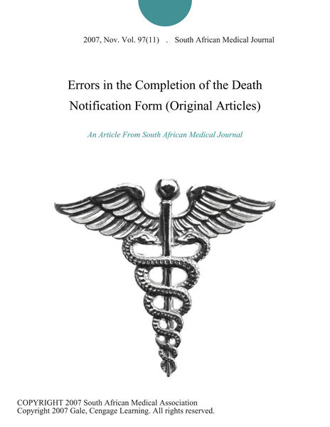 Errors in the Completion of the Death Notification Form (Original Articles)