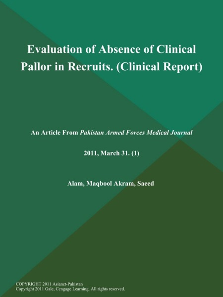 Evaluation of Absence of Clinical Pallor in Recruits (Clinical Report)