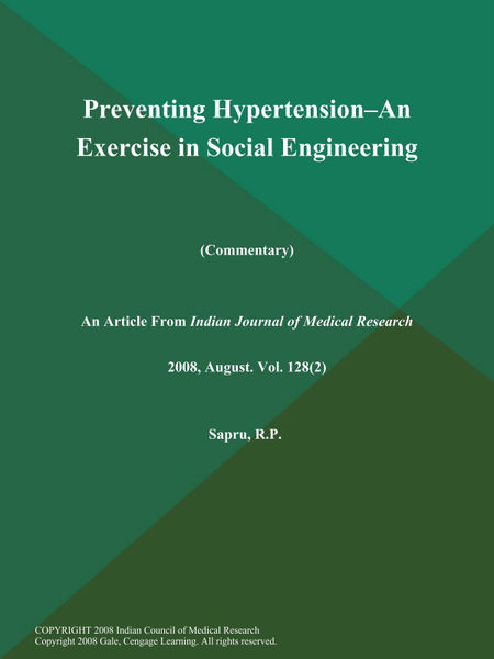 Preventing Hypertension--an Exercise in Social Engineering (Commentary)