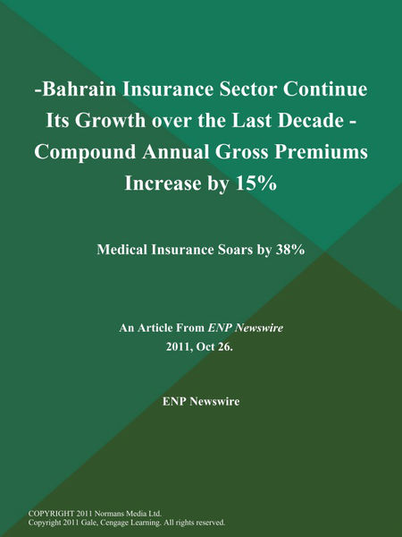 -Bahrain Insurance Sector Continue Its Growth over the Last Decade - Compound Annual Gross Premiums Increase by 15%; Medical Insurance Soars by 38%