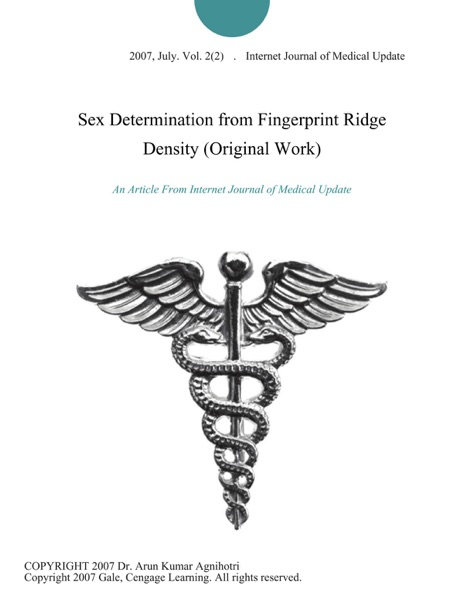 Sex Determination from Fingerprint Ridge Density (Original Work)