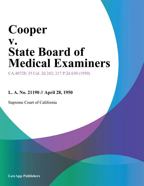Cooper V. State Board Of Medical Examiners