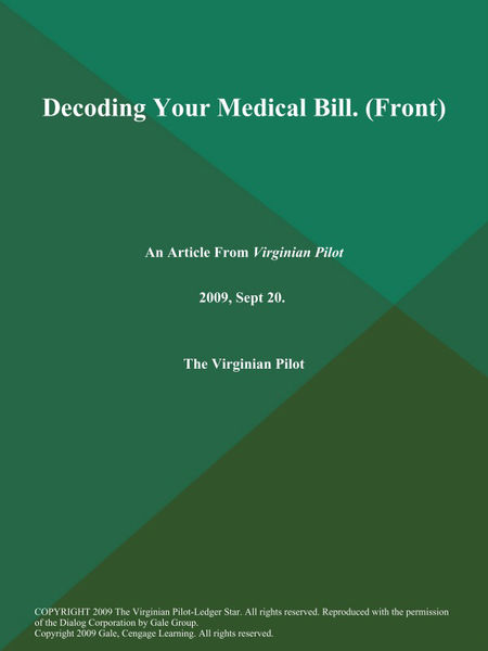 Decoding Your Medical Bill (Front)