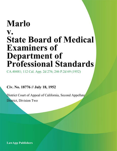 Marlo v. State Board of Medical Examiners of Department of Professional Standards
