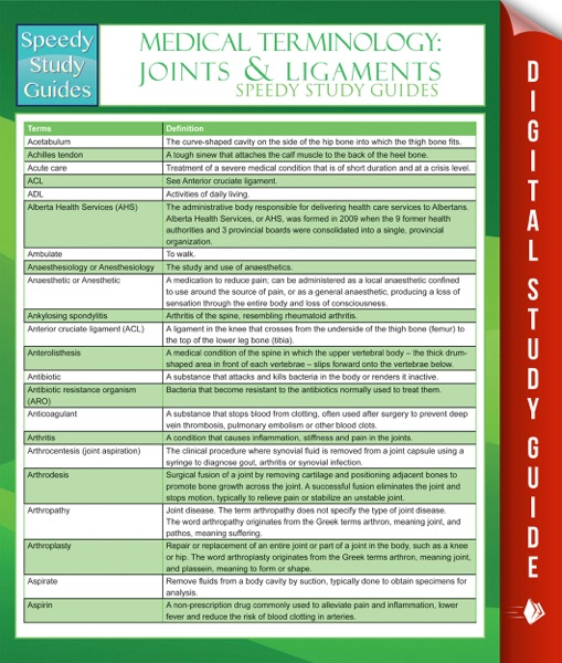 Medical Terminology: Joints & Ligaments Speedy Study Guides