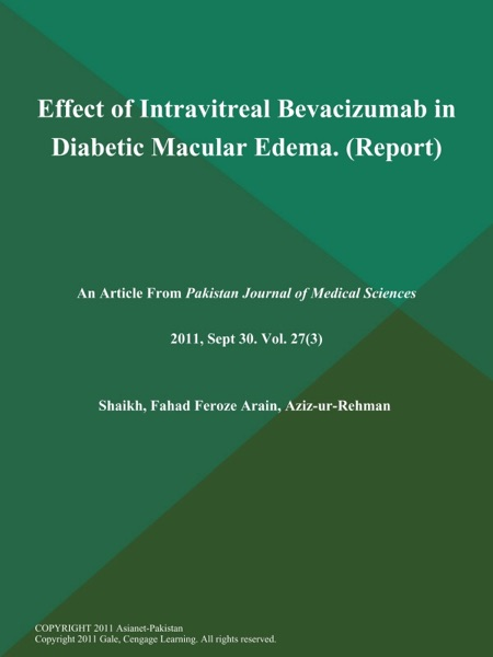 Effect of Intravitreal Bevacizumab in Diabetic Macular Edema (Report)