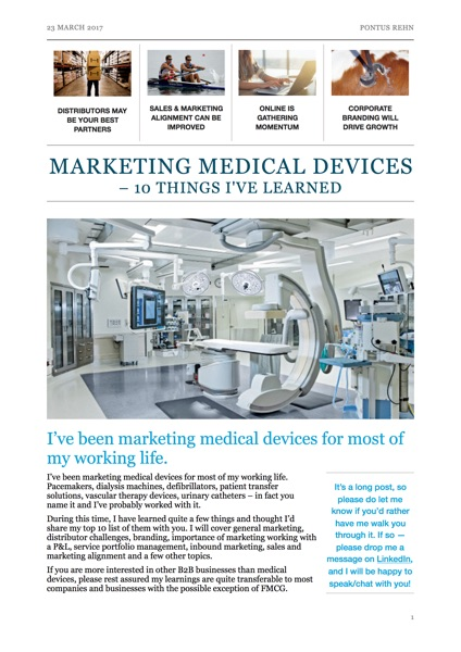 Marketing medical devices - 10 thoughts